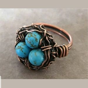 Handcrafted turquoise nest ring size 8